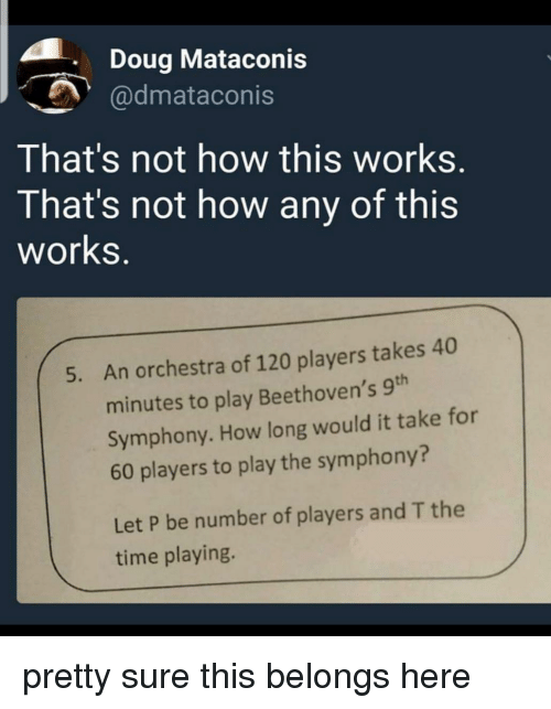 Not How This Works: . Doug Mataconis  @dmataconis  That's not how this works.  That's not how any of this  works.  An orchestra of 120 players takes 40  minutes to play Beethoven's 9th  Symphony. How long would it take for  60 players to play the symphony?  5.  Let P be number of players and T the  time playing. pretty sure this belongs here