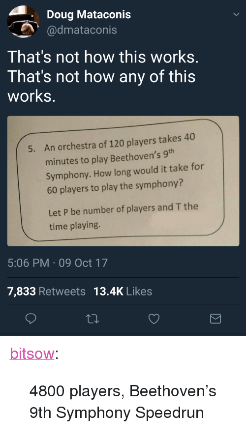 "Not How This Works: Doug Mataconis  dmataconis  That's not how this works  That's not how any of this  works  An orchestra of 120 players takes 40  minutes to play Beethoven's 9  Symphony. How long would it take for  60 players to play the symphony?  5.  Let P be number of players and T the  time playing.  5:06 PM 09 Oct 17  7,833 Retweets 13.4K Likes <p><a href=""http://bitsow.tumblr.com/post/166394532382/4800-players-beethovens-9th-symphony-speedrun"" class=""tumblr_blog"">bitsow</a>:</p> <blockquote><p>4800 players, Beethoven's 9th Symphony Speedrun</p></blockquote>"