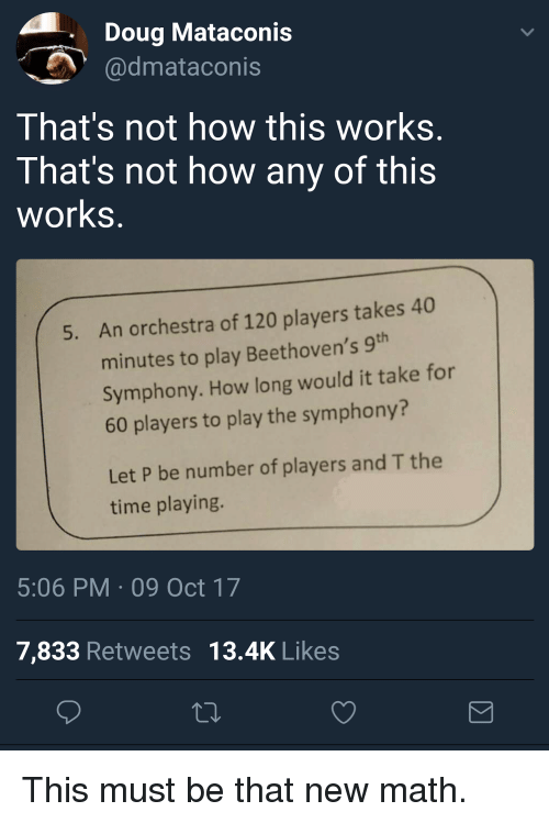 Not How This Works: Doug Mataconis  dmataconis  That's not how this works  That's not how any of this  works  An orchestra of 120 players takes 40  minutes to play Beethoven's 9  Symphony. How long would it take for  60 players to play the symphony?  5.  Let P be number of players and T the  time playing.  5:06 PM 09 Oct 17  7,833 Retweets 13.4K Likes <p>This must be that new math.</p>