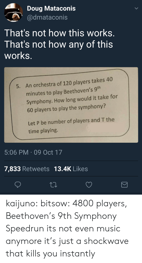 Not How This Works: Doug Mataconis  dmataconis  That's not how this works  That's not how any of this  works  An orchestra of 120 players takes 40  minutes to play Beethoven's 9  Symphony. How long would it take for  60 players to play the symphony?  5.  Let P be number of players and T the  time playing.  5:06 PM 09 Oct 17  7,833 Retweets 13.4K Likes kaijuno: bitsow: 4800 players, Beethoven's 9th Symphony Speedrun its not even music anymore it's just a shockwave that kills you instantly