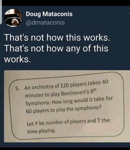 Not How This Works: Doug Mataconis  @dmataconis  That's not how this works.  That's not how any of this  works.  An orchestra of 120 players takes 40  5.  minutes to play Beethoven's 9th  Symphony. How long would it take for  60 players to play the symphony?  Let P be number of players and T the  time playing.