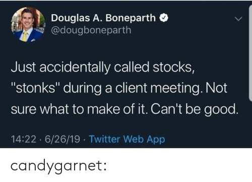 "Tumblr, Twitter, and Blog: Douglas A. Boneparth  @dougboneparth  Just accidentally called stocks,  ""stonks"" during a client meeting. Not  sure what to make of it. Can't be good.  14:22 6/26/19 Twitter Web App candygarnet:"