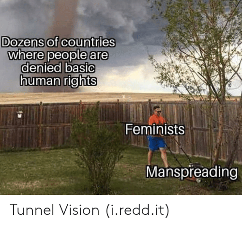 Tunnel Vision: Dozens of countries  where people are  denied basiC  uman rights  Feminists  Manspreading Tunnel Vision (i.redd.it)
