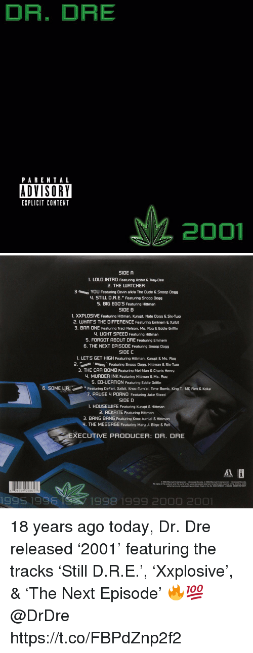 lolo: DR. DRE  PARENTAL  ADVISORY  EXPLICIT CONTENT  2001   SIDE A  1. LOLO INTRO Featuring Xzibit & Tray-Dee  2. THE UATCHER  3 mutu, You Featuring Devin aka The Dude & Snoop Dogg  4. STILL D.R.E. Featuring Snoop Dogg  5. BIG EG0'S Featuring Hittman  SIDE B  1. XXPLOSIVE Featuring Hittman, Kurupt, Nate Dogg & Six-Two  2. WHATS THE DIFFERENCE Featuring Eminem & Xzibit  3. BAR ONE Featuring Traci Nelson, Ms. Roq & Eddie Griffin  4. LIGHT SPEED Featuring Hittman  5. FORGOT ABOUT DRE Featuring Eminem  6. THE NEXT EPISODE Featuring Snoop Dogg  SIDE C  1. LET'S GET HIGH Featuring Hittman, Kurupt & Ms. Roq  2 nt Fetring Snoop Dogg. Hittman & Six-Tuo  3. THE CAR BOMB Featuring Mel-Man & Charis Henry  4. MURDER INK Featuring Hittman & Ms. Roq  5. ED-UCATION Featuring Eddie Griffin  6. SOME LAFeaturing DeFari, Xzibit, Knoc-Turn'al, TIime Bomb, King T. MC Ren & Koka  7 PAUSE 4 PORN0 Featuring Jake Steed  SIDE D  1. HOUSEUWIFE Featuring Kurupt & Hittman  2. ACKRITE Featuring Hittman  3. BANG BANG Featuring Knoc-turn'al & Hittman  4. THE MESSAGE Featuring Mary J. Blige & Rel  XECUTIVE PRODUCER: DR. DRE  06949 0486 117  1995 1996  1998 1999 2000 2001 18 years ago today, Dr. Dre released '2001' featuring the tracks 'Still D.R.E.', 'Xxplosive', & 'The Next Episode' 🔥💯 @DrDre https://t.co/FBPdZnp2f2