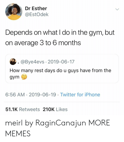 Dank, Gym, and Iphone: Dr Esther  @EstOdek  Depends on what I do in the gym, but  on average 3 to 6 months  . @Bye4evs 2019-06-17  How many rest days do u guys have from the  gym  6:56 AM 2019-06-19. Twitter for iPhone  51.1K Retweets 210K Likes meirl by RaginCanajun MORE MEMES
