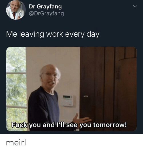 leaving: Dr Grayfang  @DrGrayfang  Me leaving work every day  Fuck you and l'll see you tomorrow! meirl