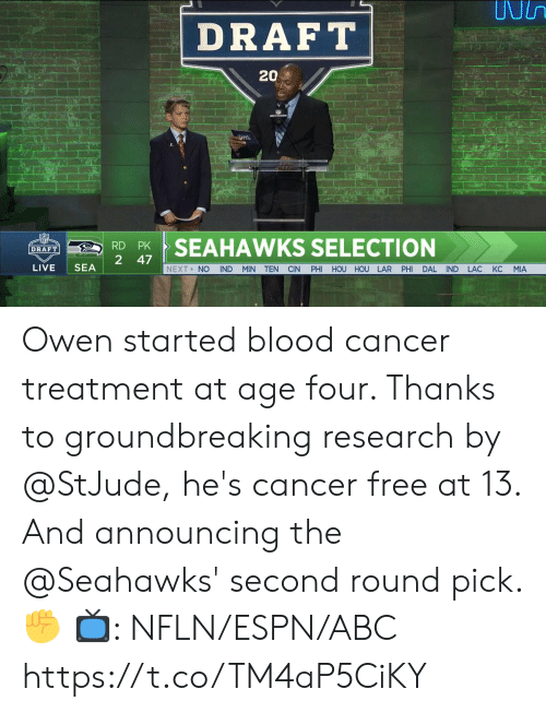 Selection: DRAFT  202  RSEAHAWKS SELECTION  2 47  LIVE SEA  NEXT> NO IND MIN TEN CIN PHI HOU HOU LAR PHI DAL IND LAC KC MIA Owen started blood cancer treatment at age four. Thanks to groundbreaking research by @StJude, he's cancer free at 13.  And announcing the @Seahawks' second round pick. ✊  📺: NFLN/ESPN/ABC https://t.co/TM4aP5CiKY