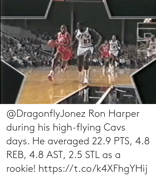 ron: @DragonflyJonez Ron Harper during his high-flying Cavs days.   He averaged 22.9 PTS, 4.8 REB, 4.8 AST, 2.5 STL as a rookie!   https://t.co/k4XFhgYHij
