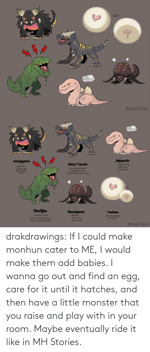 Have: drakdrawings:    If I could make monhun cater to ME, I would make them add babies. I wanna go out and find an egg, care for it until it hatches, and then have a little monster that you raise and play with in your room. Maybe eventually ride it like in MH Stories.