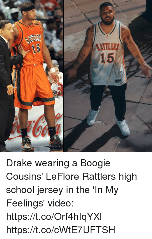 A Boogie: Drake wearing a Boogie Cousins' LeFlore Rattlers high school jersey in the 'In My Feelings' video: https://t.co/Orf4hIqYXl https://t.co/cWtE7UFTSH