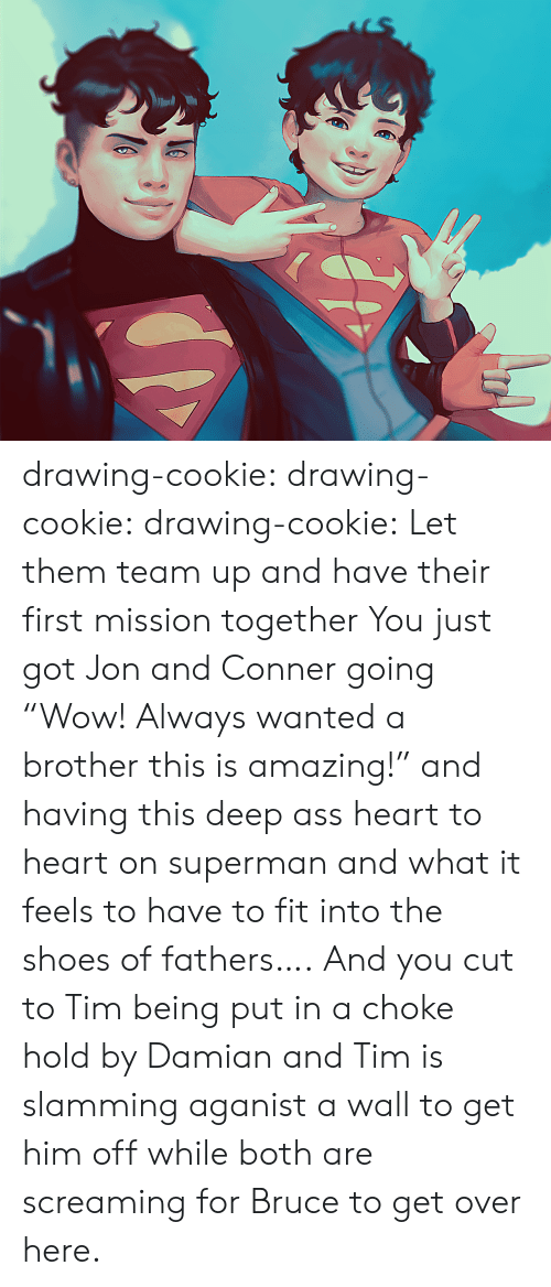"mission: drawing-cookie: drawing-cookie:  drawing-cookie: Let them team up and have their first mission together  You just got Jon and Conner going ""Wow! Always wanted a brother this is amazing!"" and  having this deep ass heart to heart on superman and what it feels to have to fit into the shoes of fathers…. And you cut to Tim being put in a choke hold by Damian and Tim is slamming aganist a wall to get him off while both are screaming for Bruce to get over here."