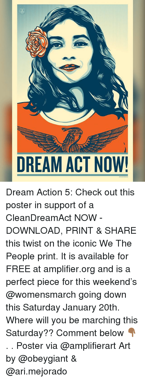 Memes, Free, and Iconic: DREAM ACT NOW! Dream Action 5: Check out this poster in support of a CleanDreamAct NOW - DOWNLOAD, PRINT & SHARE this twist on the iconic We The People print. It is available for FREE at amplifier.org and is a perfect piece for this weekend's @womensmarch going down this Saturday January 20th. Where will you be marching this Saturday?? Comment below 👇🏾 . . Poster via @amplifierart Art by @obeygiant & @ari.mejorado