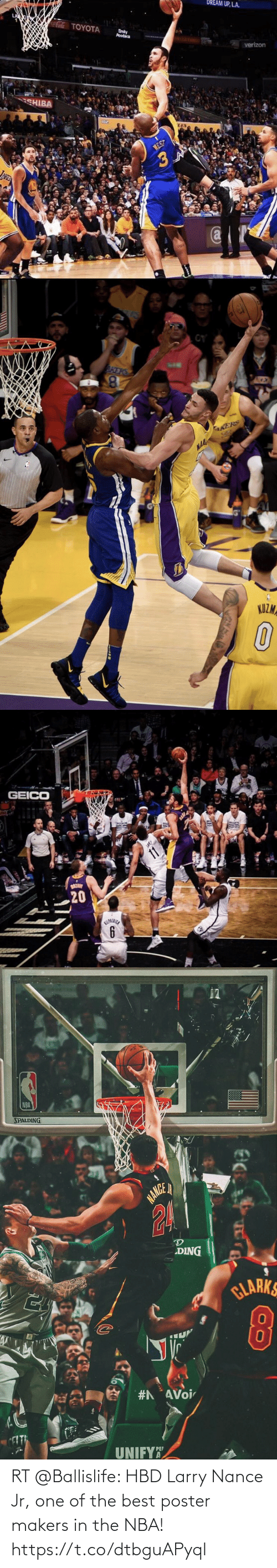 "Akers: DREAM UP, LA.  aTOYOTA  Enty  Poodaca  AELLA  verizon  CHIBA  NEST  JANE  (a   AKERS  AKERS  NAA  KUZMA   GEICO  BAK  HOON  11  20   NBA  SPALDING  NANGE  DING  GLARKS  #AAVoi  UNIFY""  PEP RT @Ballislife: HBD Larry Nance Jr, one of the best poster makers in the NBA! https://t.co/dtbguAPyql"