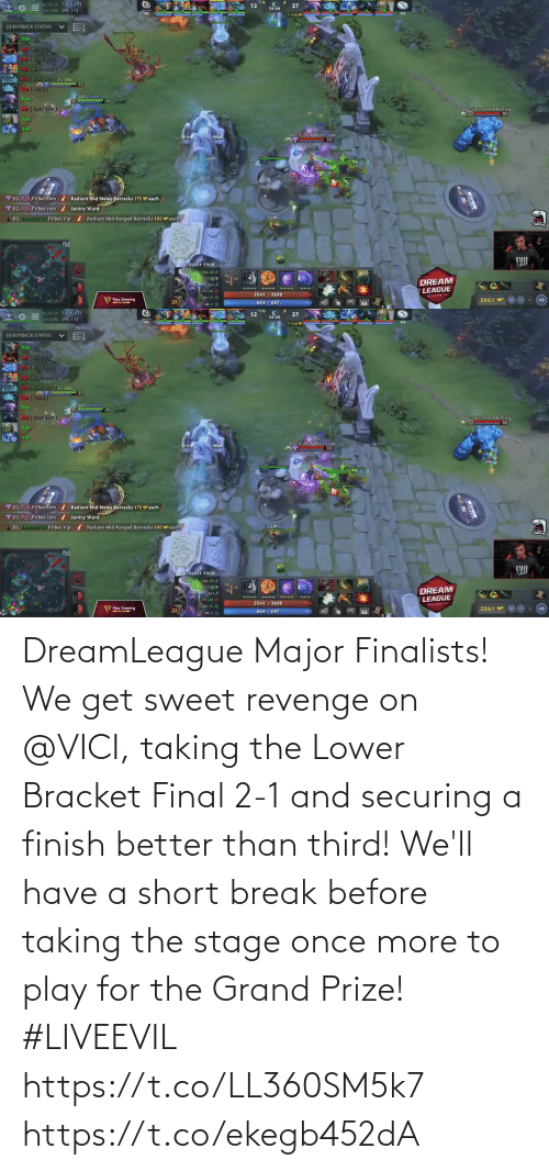 Break: DreamLeague Major Finalists!  We get sweet revenge on @VICI, taking the Lower Bracket Final 2-1 and securing a finish better than third!   We'll have a short break before taking the stage once more to play for the Grand Prize! #LIVEEVIL  https://t.co/LL360SM5k7 https://t.co/ekegb452dA