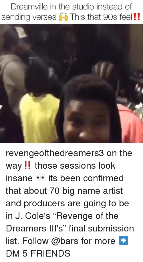 """submission: Dreamville in the studio instead of  sending verses This that 90s feel!! revengeofthedreamers3 on the way‼️ those sessions look insane 👀 its been confirmed that about 70 big name artist and producers are going to be in J. Cole's """"Revenge of the Dreamers III's"""" final submission list. Follow @bars for more ➡️ DM 5 FRIENDS"""