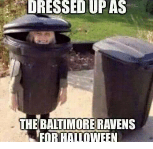 Baltimore Ravens: DRESSED UP AS  THE BALTIMORE RAVENS  FOR HALLOWEEN