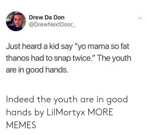 "Dank, Memes, and Target: Drew Da Don  @DrewNextDoor  Just heard a kid say ""yo mama so fat  thanos had to snap twice."" The youth  are in good hands Indeed the youth are in good hands by LilMortyx MORE MEMES"