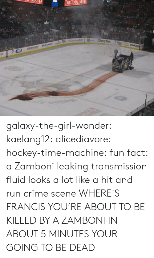 time machine: Dreyfus RIB galaxy-the-girl-wonder:  kaelang12:  alicediavore:  hockey-time-machine: fun fact: a Zamboni leaking transmission fluid looks a lot like a hit and run crime scene WHERE´S FRANCIS  YOU'RE ABOUT TO BE KILLED BY A ZAMBONI   IN ABOUT 5 MINUTES YOUR GOING TO BE DEAD