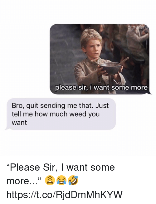 "Memes, Some More, and Weed: drgrayfan  please sir, i want some more  Bro, quit sending me that. Just  tell me how much weed you  want ""Please Sir, I want some more..."" 😩😂🤣 https://t.co/RjdDmMhKYW"