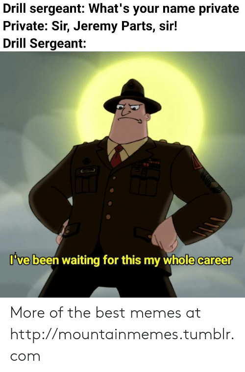 Memes, Tumblr, and Best: Drill sergeant: What's your name private  Private: Sir, Jeremy Parts, sir!  Drill Sergeant:  I've been waiting for this my whole career More of the best memes at http://mountainmemes.tumblr.com