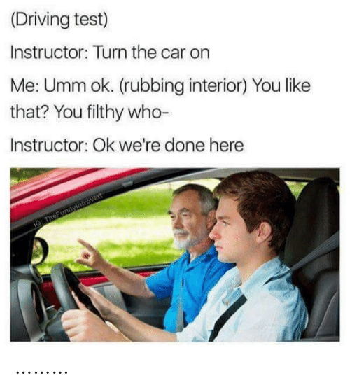 OK: (Driving test)  Instructor: Turn the car on  Me: Umm ok. (rubbing interior) You like  that? You filthy who-  Instructor: Ok we're done here  IG: TheFunnyintrovert ………