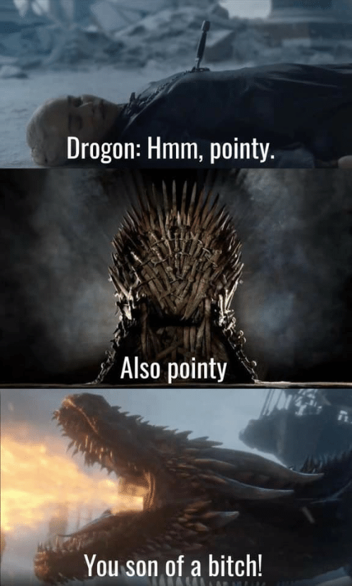 Bitch, You, and Hmm: Drogon: Hmm, pointy.  Also pointy  You son of a bitch!