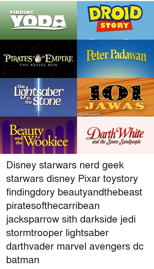 empirical: DROID  FINDING  a  STORY  PIRATES EMPIRE  Peter Padawan  THE KESSEL RUN  Ligho the  One  A WAS  l@Starwarsfacts  CDarth White  eauty  Wookiee  and the deve esamapeople Disney starwars nerd geek starwars disney Pixar toystory findingdory beautyandthebeast piratesofthecarribean jacksparrow sith darkside jedi stormtrooper lightsaber darthvader marvel avengers dc batman