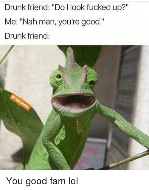 """Drunk, Fam, and Funny: Drunk friend: """"Do l look fucked up?""""  Me: """"Nah man, you're good.""""  Drunk friend You good fam lol"""