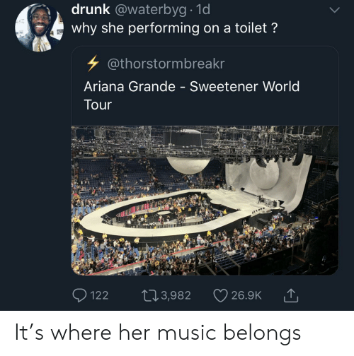 Ariana Grande, Blackpeopletwitter, and Drunk: drunk @waterbyg 1d  why she performing on a toilet?  @thorstormbreakr  Ariana Grande - Sweetener World  Tour  122 103,982 26.9K T It's where her music belongs