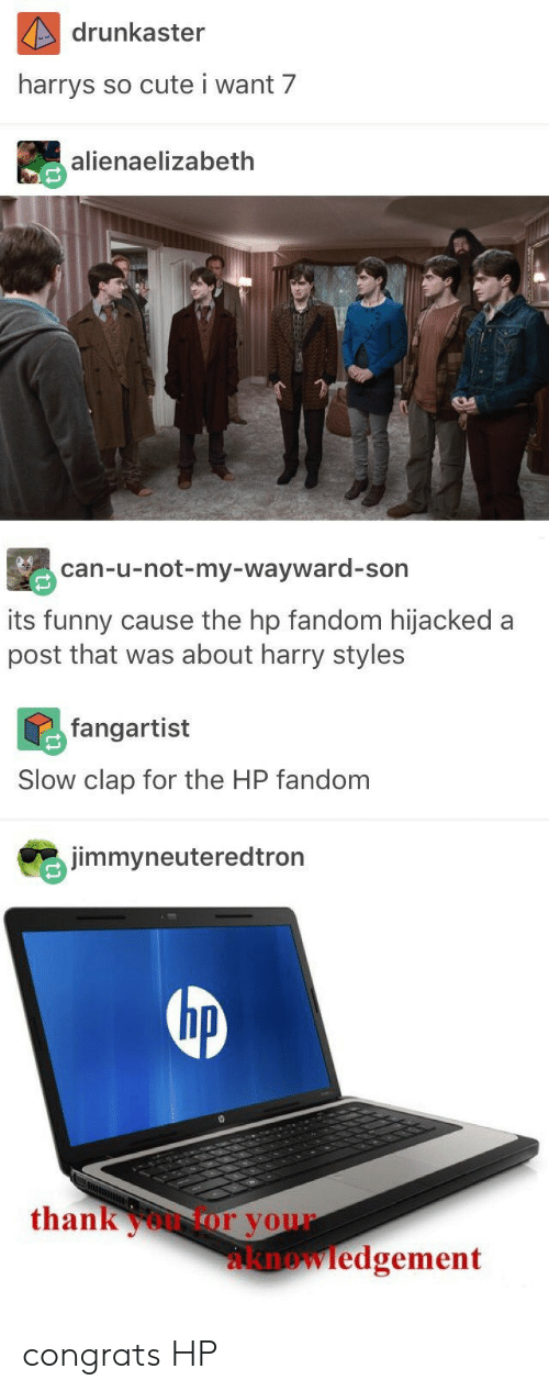 Cute, Funny, and Harry Styles: drunkaster  harrys  so cute i want 7  alienaelizabeth  can-u-not-my-wayward-son  its funny cause the hp fandom hijacked a  post that was about harry styles  fangartist  Slow clap for the HP fandom  jimmyneuteredtron  hp  thankoor your  knowledgement congrats HP