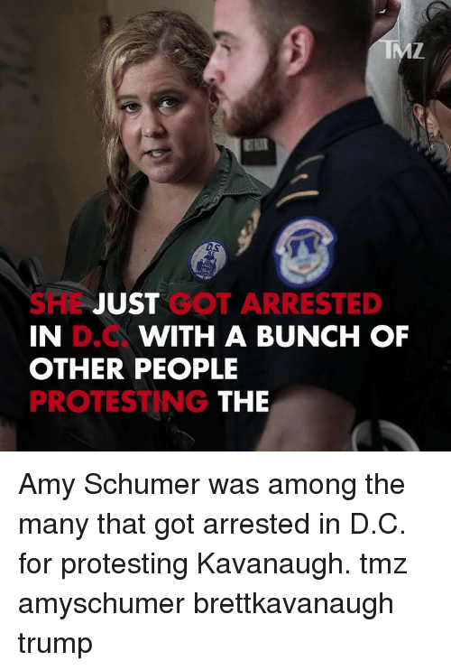 Amy Schumer: DS  SHL JUST GOT ARRESTED  IN  OTHER PEOPLE  PROTESTING  D.C  WITH A BUNCH OF  THE Amy Schumer was among the many that got arrested in D.C. for protesting Kavanaugh. tmz amyschumer brettkavanaugh trump