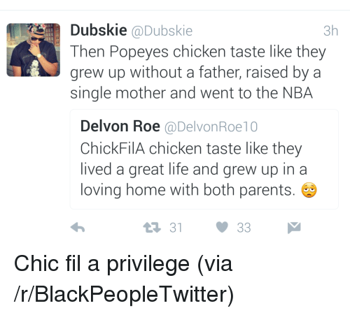 popeyes chicken: Dubskie @Dubskie  3h  Then Popeyes chicken taste like they  grew up without a father, raised by a  single mother and went to the NBA  Delvon Roe @DelvonRoe10  ChickFilA chicken taste like they  lived a great life and grew up in a  loving home with both parents.  1 3133 <p>Chic fil a privilege (via /r/BlackPeopleTwitter)</p>