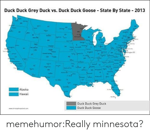 Tumblr, Alaska, and Blog: Duck Duck Grey Duck vs. Duck Duck Goose State By State 2013  MT  uE  ND  OR  MN  50.  wr  shingan D0  UT  CO P  ks  e Ok  Alaska  Hawaii  Duck Duck Grey Duck  Duck Duck Goose memehumor:Really minnesota?