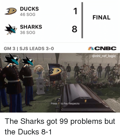 99 Problems, Logic, and Memes: DUCKS  46 SOG  FINAL  SHARKS  36 SOG  8  CNBC  @nhl_ref_logic  GM 3 I SJS LEADS 3-0  Pay Respec  Press F to Pay Respects The Sharks got 99 problems but the Ducks 8-1