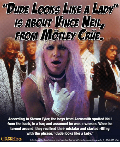 """Steven Tyler: DuDE LOONG LIKE A LADy  FROM MOTLEy CRIE.  According to Steven Tyler, the boys from Aerosmith spotted Neil  from the back, in a bar, and assumed he was a woman. When he  turned around, they realized their mistake and started riffing  with the phrase, """"dude looks like a lady.""""  COM  http:/www.huffingtonpostcom/sue-kerraerosmith dude-looks-like-a-lady b 3848538 html"""