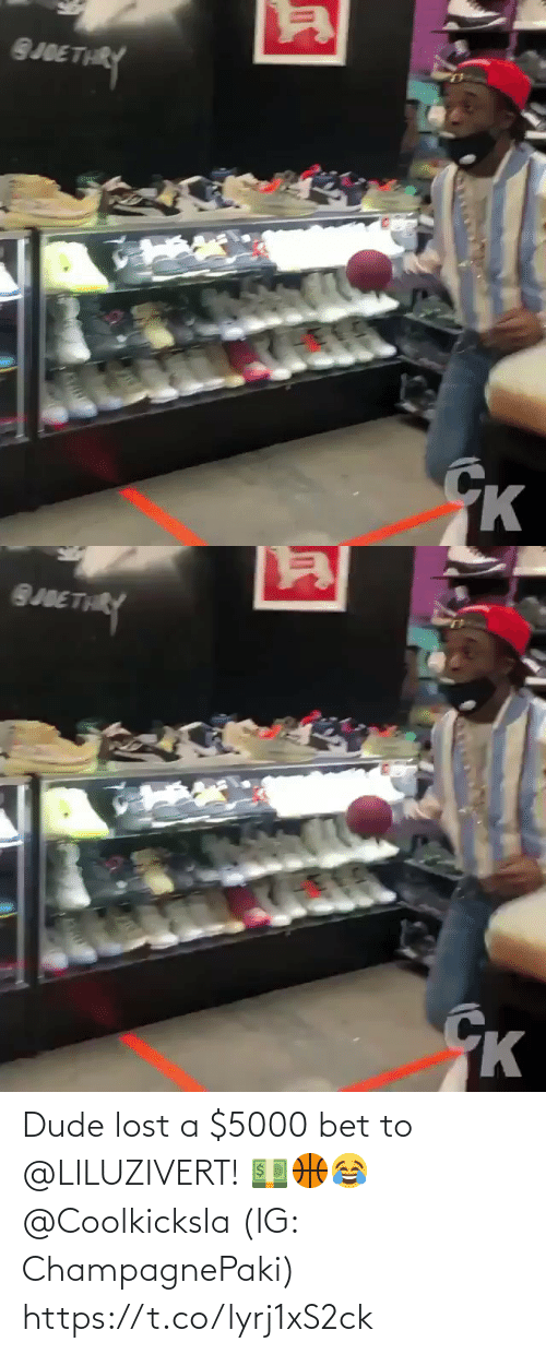Lost: Dude lost a $5000 bet to @LILUZIVERT! 💵🏀😂 @Coolkicksla (IG: ChampagnePaki) https://t.co/lyrj1xS2ck