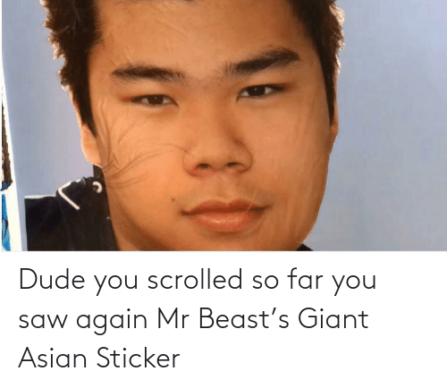 Giant: Dude you scrolled so far you saw again Mr Beast's Giant Asian Sticker