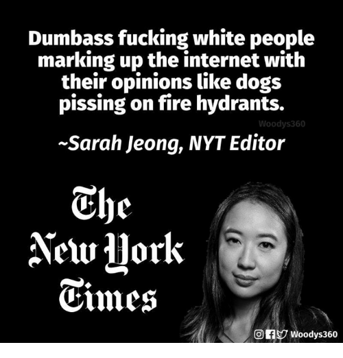 Dogs, Fire, and Fucking: Dumbass fucking white people  marking up the internet with  their opinions like dogs  pissing on fire hydrants.  Woodys360  Sarah Jeong, NYT Editor  Thc  Cmes