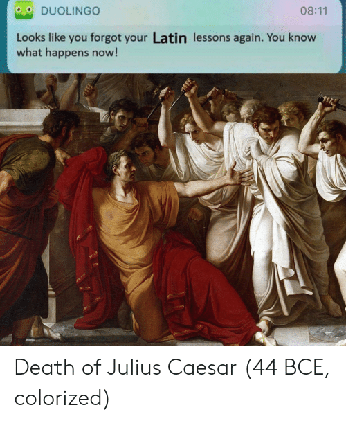 Death, Julius Caesar, and Latin: DUOLINGO  08:11  Looks like you forgot your Latin lessons again. You know  what happens now! Death of Julius Caesar (44 BCE, colorized)