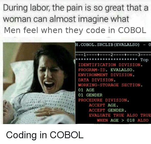 Identification: During labor, the pain is so great that a  woman can almost imagine what  Men feel when they code in COBOL  .COBOL.SRCLIB (EVALALSO) - 0  Top  IDENTIFICATION DIVISION  PROGRAM-ID. EVALALSO  ENVIRONMENT DIVISION  DATA DIVISION  WORKING-STORAGE SECTION  01 AGE  01 GENDER  PROCEDURE DIVISION  ACCEPT AGE  ACCEPT GENDER.  EVALUATE TRUE ALSO TRUE  WHEN AGE  018 ALSO Coding in COBOL