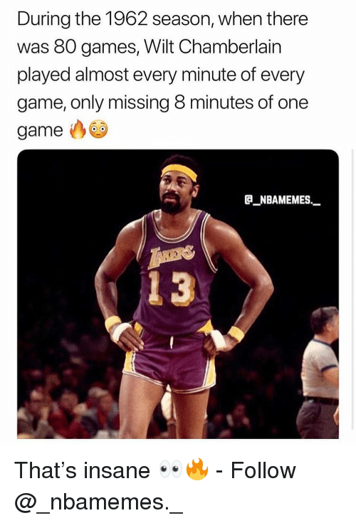 One Game: During the 1962 season, when there  was 80 games, Wilt Chamberlain  played almost every minute of every  game, only missing 8 minutes of one  game  B NBAMEMES_  13 That's insane 👀🔥 - Follow @_nbamemes._