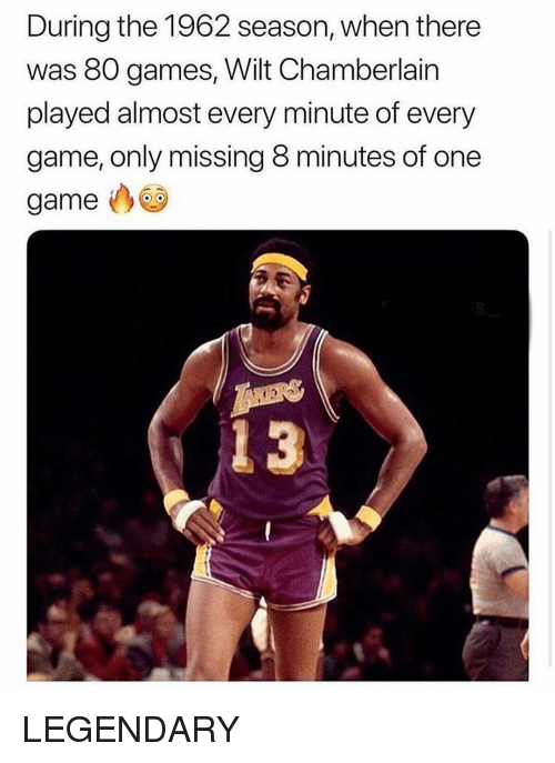 One Game: During the 1962 season, when there  was 80 games, Wilt Chamberlain  played almost every minute of every  game, only missing 8 minutes of one  game  4 3 LEGENDARY