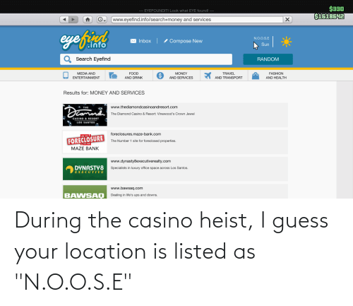 """Location: During the casino heist, I guess your location is listed as """"N.O.O.S.E"""""""