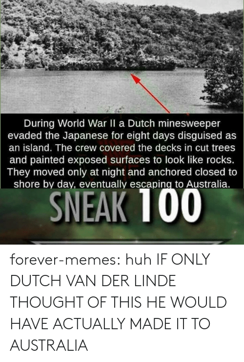 Huh, Memes, and Target: During World War II a Dutch minesweeper  evaded the Japanese for eight days disguised as  an island. The crew covered the decks in cut trees  and painted exposed surfaces to look like rocks.  They moved only at night and anchored closed to  shore by day, eventually escaping to Australia.  SNEAK 100 forever-memes:  huh  IF ONLY DUTCH VAN DER LINDE THOUGHT OF THIS HE WOULD HAVE ACTUALLY MADE IT TO AUSTRALIA