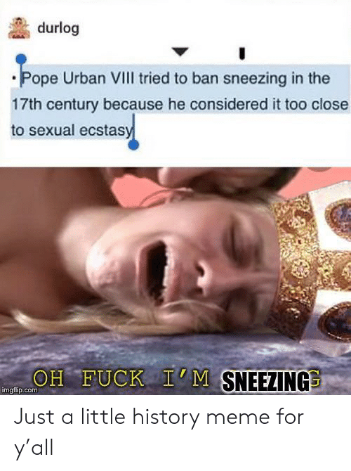 Urban: durlog  Pope Urban VIII tried to ban sneezing in the  17th century because he considered it too close  to sexual ecstasy  OH FUCK I'M SNEEZING  imgfip.com Just a little history meme for y'all