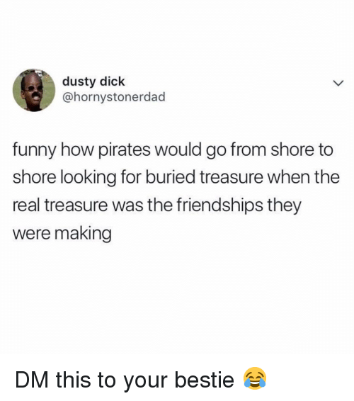Funny, Memes, and Dick: dusty dick  @hornystonerdad  funny how pirates would go from shore to  shore looking for buried treasure when the  real treasure was the friendships they  were making DM this to your bestie 😂