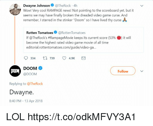 "The Dreaded: Dwayne Johnson@TheRock 4h  Wow! Very cool RAMPAGE news! Not pointing to the scoreboard yet, but it  seems we may have finally broken the dreaded video game curse. And  remember, I starred in the stinker ""Doom"" so I have lived thy curse A  Rotten Tomatoes@RottenTomatoes  If @TheRock's #RampageMovie keeps its current score (53% 0) it will  become the highest rated video game movie of all time  editorial.rottentomatoes.com/guide/video-ga...  DOOM  @DOOM  Follow  Replying to @TheRock  Dwayne.  8:40 PM- 13 Apr 2018 LOL https://t.co/odkMFVY3A1"