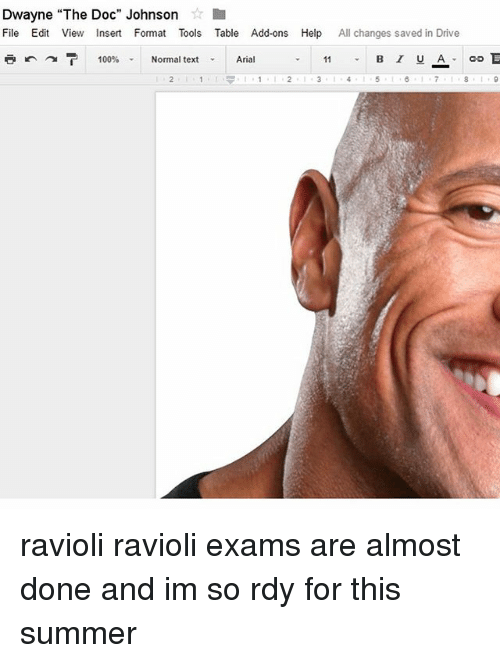 """The Doc: Dwayne """"The Doc"""" Johnson  File Edit View Insert Format Tools Table Add-ons Help  All changes saved in Drive  B I U A  100%  Normal text  Arial ravioli ravioli exams are almost done and im so rdy for this summer"""