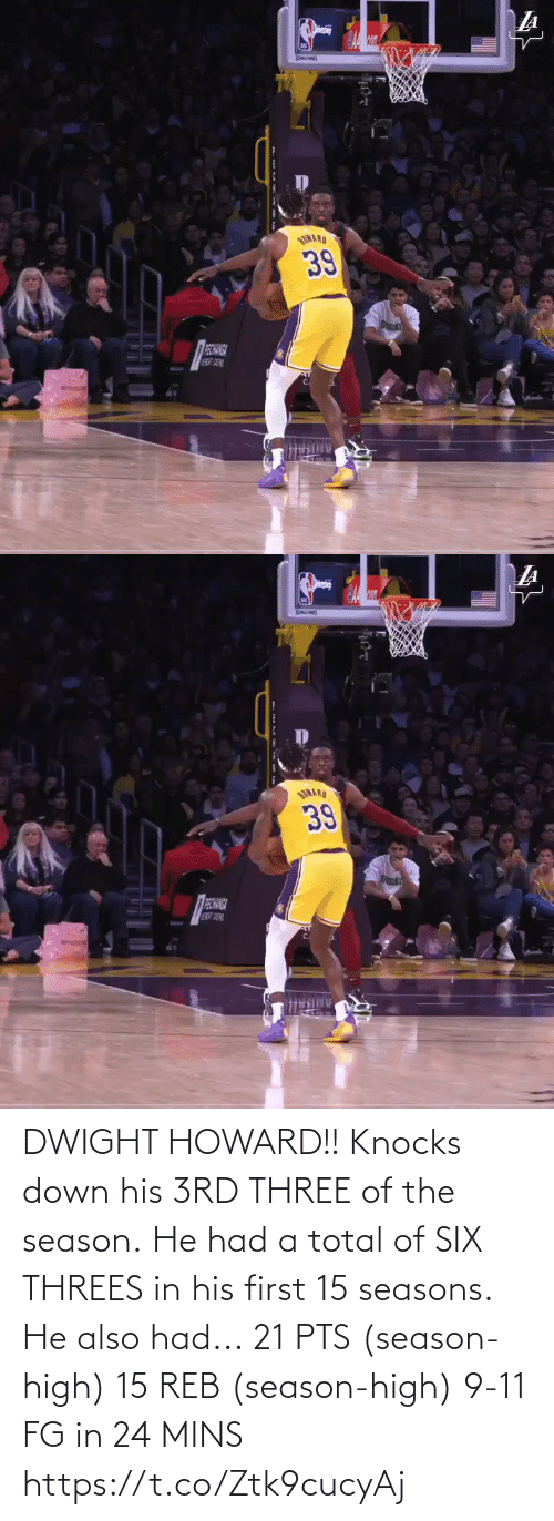 dwight: DWIGHT HOWARD!! Knocks down his 3RD THREE of the season. He had a total of SIX THREES in his first 15 seasons.    He also had... 21 PTS (season-high) 15 REB (season-high) 9-11 FG in 24 MINS  https://t.co/Ztk9cucyAj
