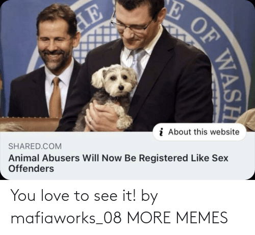 Will Now: E OF  AE  i About this website  SHARED.COM  Animal Abusers Will Now Be Registered Like Sex  Offenders  WASH You love to see it! by mafiaworks_08 MORE MEMES
